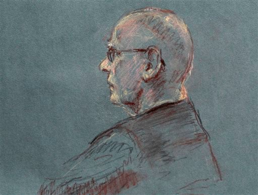 "This courtroom sketch depicts James ""Whitey"" Bulger at the beginning of jury selection for his trial in U.S. District Court in Boston, Tuesday, June 4, 2013. (AP)"
