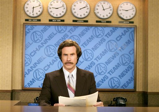 """FILE - This undated photo released by DreamWorks Pictures shows Will Ferrell portraying anchorman Ron Burgundy in """"Anchorman: The Legend of Ron Burgundy"""". (AP)"""