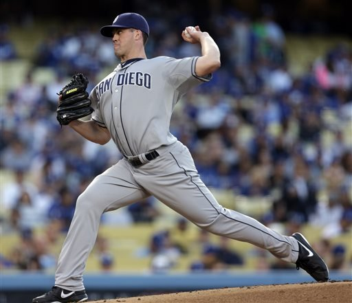 San Diego Padres starting pitcher Clayton Richard throws during the first inning of their baseball game against the Los Angeles Dodgers, Tuesday, June 4, 2013, in Los Angeles. (AP Photo/Jason Redmond)