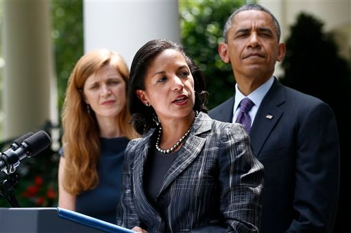 President Barack Obama listens as UN Ambassador Susan Rice, his choice to be his next National Security Adviser, speaks in the Rose Garden at the White House in Washington, Wednesday, June 5, 2013, where the president made the announcement. (AP)