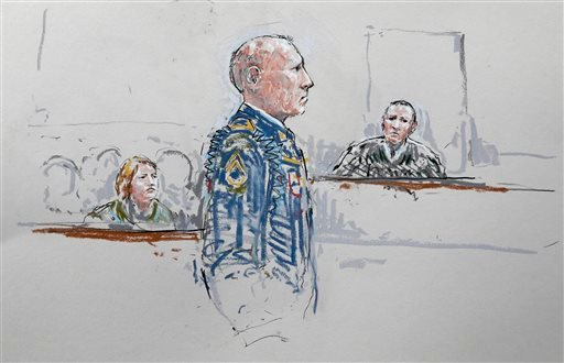 In this courtroom sketch, U.S. Army Staff Sgt. Robert Bales, center, stands before military judge Col. Jeffery Nance, right, as Bales' wife Kari Bales looks on at left, Wednesday, June 5, 2013, during a plea hearing. (AP)