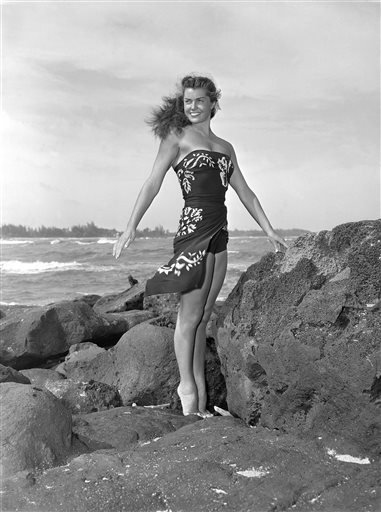 "This May 1950 file publicity photo originally released by Metro-Goldwyn-Mayer shows Esther Williams on location for the film ""Pagan Love Song."""