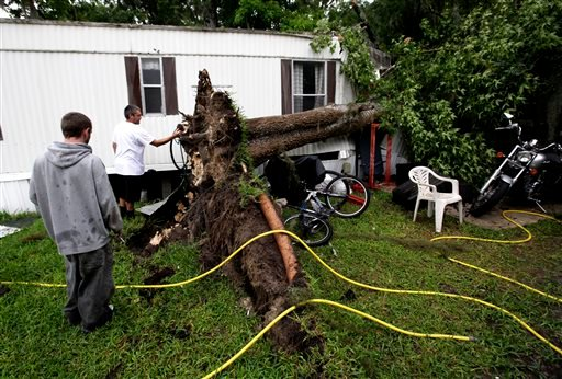 Allen Michael Reynolds, left, and his brother, David Anthony Reynolds look at the roots of a tree that fell onto their home during Tropical Storm Andrea on Thursday, June 6, 2013 in Gainesville, Fla. (AP Photo/The Gainesville Sun, Matt Stamey)