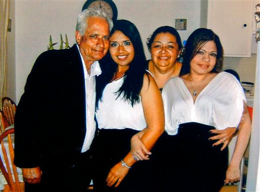 This undated photo provided by the family shows, from left, Carlos Navarro Franco, Marcela Franco, Ramona Franco and Letecia Franco. Marcela Franco died Sunday, June 9, 2013, after Friday's deadly rampage in Santa Monica, Calif.