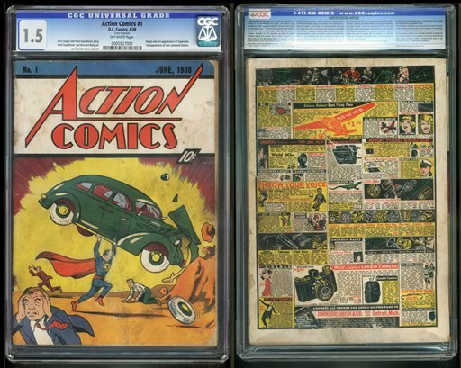 """FILE - In this file image provided by Metropolis Collectibles/ComicConnect, Corp., shows the front and back cover of """"Action Comics No. 1"""" from 1938, featuring the debut of Superman. (AP)"""