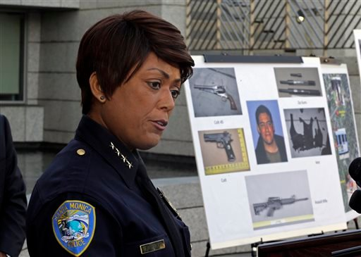 Police Chief Jacqueline Seabrooks of the Santa Monica, Calif., Police Department speaks at a news conference Thursday, June 13, 2013, at which additional evidence photos of the June 9 shooting rampage by John Zawahri were released.