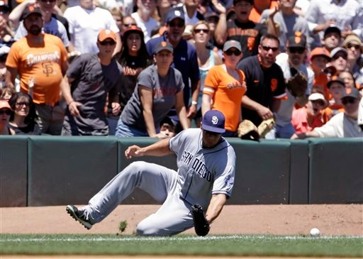 San Diego Padres right fielder Kyle Blanks misses a fly ball hit by San Francisco Giants' Brandon Belt during the fourth inning of their baseball game on Wednesday, June 19, 2013 in San Francisco.