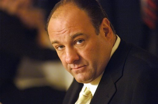 """This undated publicity photo, released by HBO, shows actor James Gandolfini in his role as Tony Soprano, head of the New Jersey crime family portrayed in HBO's """"The Sopranos."""""""
