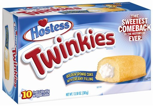 This undated image provided by Hostess Brands LLC shows a box of Twinkies. Twinkies will be back on shelves by July 15, 2013, after its predecessor company went bankrupt after an acrimonious fight with unions last year.
