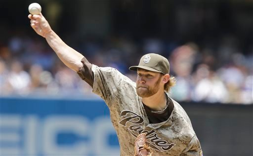 San Diego Padres starting pitcher Andrew Cashner throws against the Los Angeles Dodgers in the first inning of a baseball game in San Diego, Sunday, June 23, 2013. (AP Photo/Lenny Ignelzi)