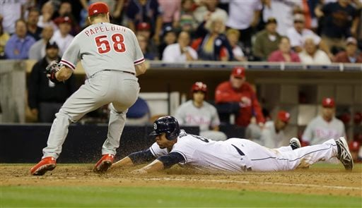 San Diego Padres' Kyle Blanks is safe at home while scoring on a wild pitch as Philadelphia Phillies relief pitcher Jonathan Papelbon goes for a late tag in the ninth inning of a baseball game in San Diego, Monday, June 24, 2013.
