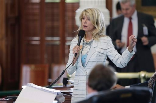 Sen. Wendy Davis, D-Fort Worth, speaks as she begins a filibuster in an effort to kill an abortion bill, Tuesday, June 25, 2013, in Austin, Texas. (AP)