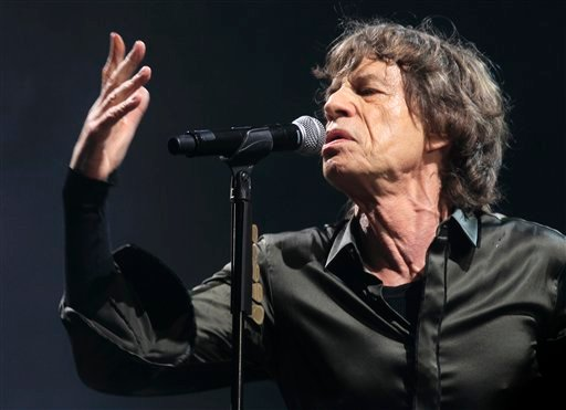 Mick Jagger of The Rolling Stones performs at Glastonbury, England on Saturday, June 29, 2013.