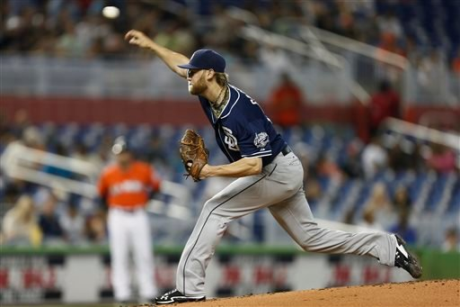 Sand Diego Padres starter Andrew Cashner pitching to the Miami Marlins during the second inning of a baseball game in Miami, Sunday, June 30, 2013. (AP Photo/J Pat Carter)