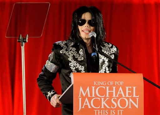 In this March 5, 2009 file photo, US singer Michael Jackson announces that he is set to play ten live concerts at the London O2 Arena in July, which he announced at a press conference at the London O2 Arena.