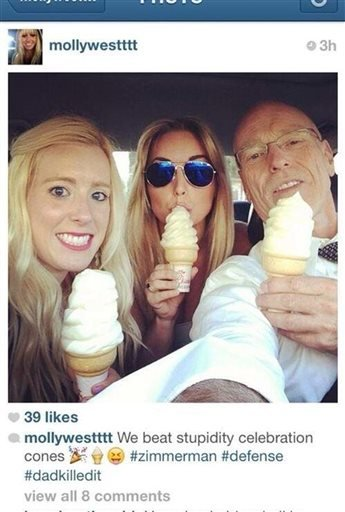 In this undated photo posted on Instagram, George Zimmerman defense attorney Don West, right, eats ice cream with his daughters.