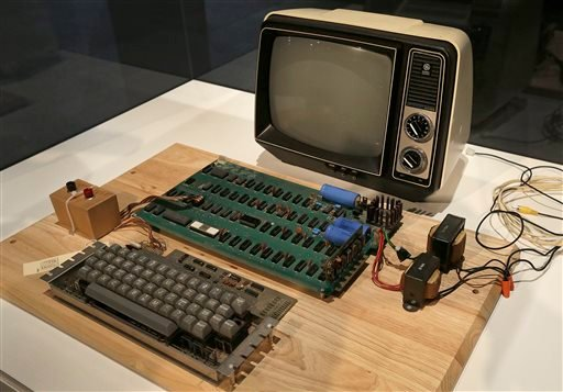 An Apple 1 computer for sale at auction is seen in a Monday, June 24, 2013 file photo, at the Computer History Museum in Menlo Park, Calif.