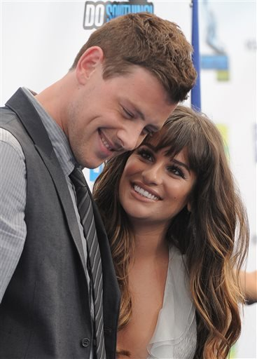 This Aug. 19, 2012 file photo shows Cory Monteith, left, and Lea Michele at the 2012 Do Something awards in Santa Monica, Calif.