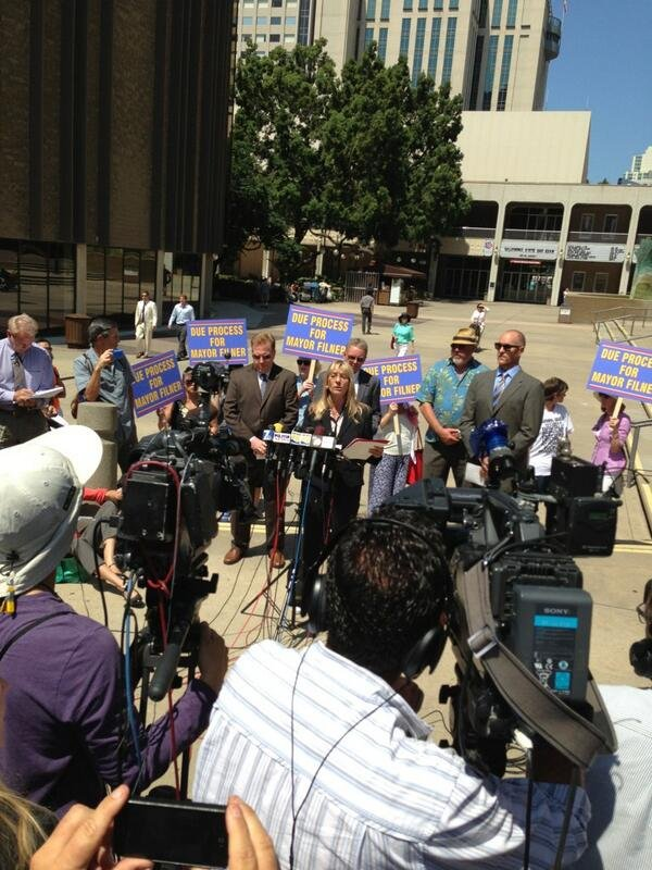 News conference held July 15, 2013 by Former Councilwoman Donna Frye and lawyers Cory Briggs and Marco Gonzalez.