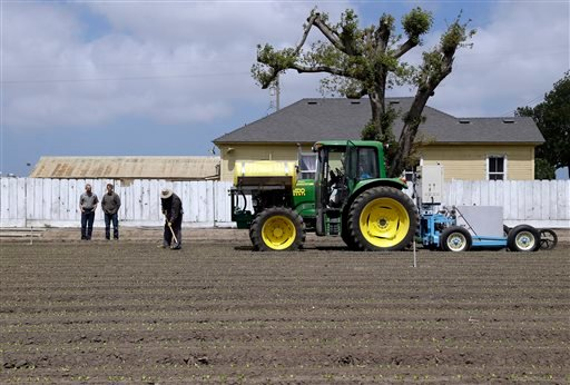 In this May 23, 2013, photo, the lettuce bot is dragged by a tractor during tests in Salinas, Calif.