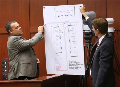 Defense attorney Mark O'Mara, right, questions Sanford, Fla., police officer Chris Serino during the George Zimmerman trial in Seminole circuit court, in this July 2, 2013 file photo in Sanford.