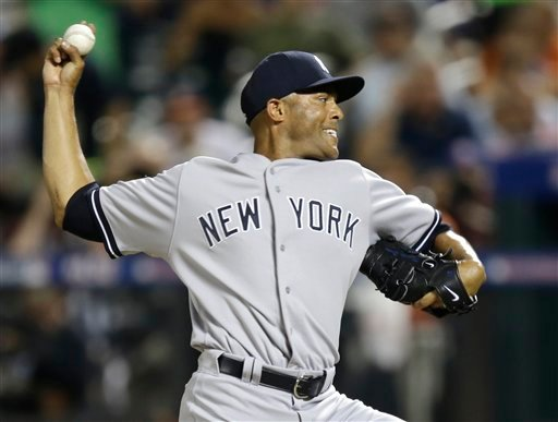 American League's Mariano Rivera, of the New York Yankees, pitches during the eighth inning of the MLB All-Star baseball game, on Tuesday, July 16, 2013, in New York.