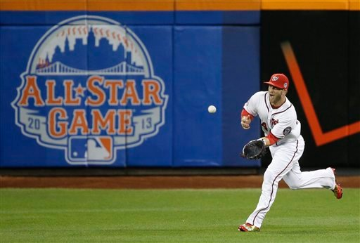 National League's Bryce Harper, of the Washington Nationals, catches a fly ball to center field during the first inning of the MLB All-Star baseball game.
