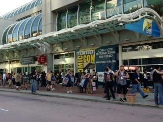 The Comic-Con street scene outside the Convention Center the evening of Wednesday, July 17, 2013.