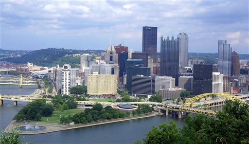 In this Aug. 18, 2009, aerial photo is downtown Pittsburgh located at the confluence of the Allegheny, Monongahela and Ohio rivers on the north side of Pittsburgh.