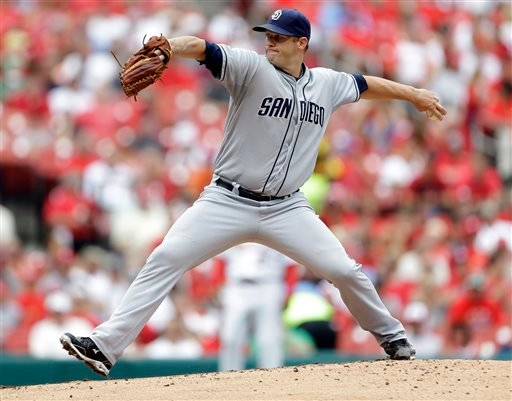 San Diego Padres starting pitcher Eric Stults throws during the first inning of a baseball game against the St. Louis Cardinals, Sunday, July 21, 2013, in St. Louis. (AP Photo/Jeff Roberson)