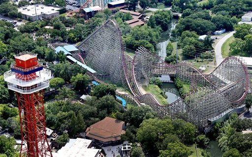 This aerial photo shows the Texas Giant roller coaster at Six Flags Over Texas where a woman fell to her death, Saturday, July 20, 2013, in Arlington, Texas.