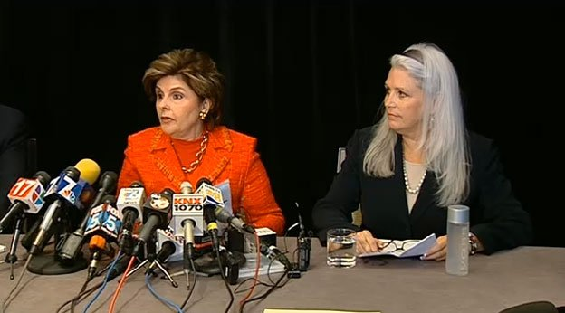 Attorney, Gloria Allred (left) and alleged Filner victim, Irene McCormack Jackson (right), speak at a news conference Monday, July 22, 2013.