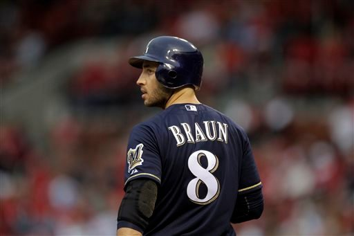 This April 27, 2012 file photo shows Milwaukee Brewers' Ryan Braun preparing to bat during a baseball game against the St. Louis Cardinals in St. Louis.