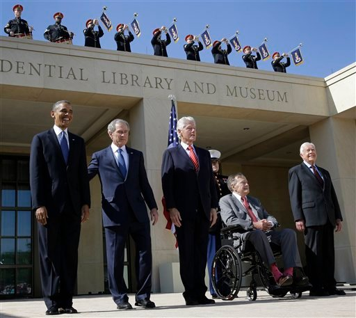 FILE - In this April 25, 2013, file photo President Barack Obama, from left, and four former presidents, George W. Bush, Bill Clinton, George H.W. Bush and Jimmy Carter appear together at a dedication ceremony in Dallas, Texas. (AP)