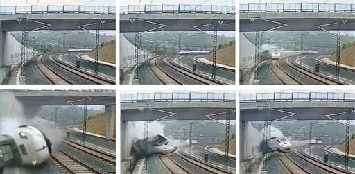 This combo image taken from security camera video shows clockwise from top left a train derailing in Santiago de Compostela, Spain, on Wednesday July 24, 2013. (AP)