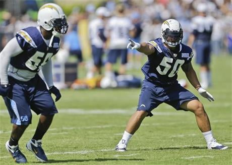 San Diego Chargers inside linebacker Manti Te'o, right, a second-round draft pick from Notre Dame, directs teammates during a drill at the NFL football team's first practice at their training camp in San Diego, Thursday, July 25, 2013.
