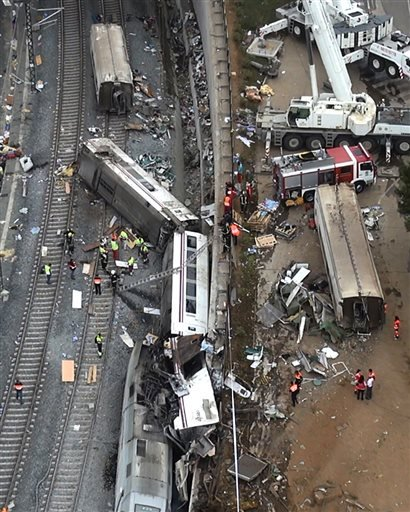 This aerial image taken from video shows a general view of the site of a train accident in Santiago de Compostela, Spain, on Thursday July 25, 2013.