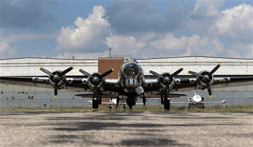 "The B-17G ""Yankee Lady"" is shown in front of the old Willow Run Bomber Plant at Willow Run Airport in Ypsilanti Township, Mich., Wednesday, July 17, 2013."