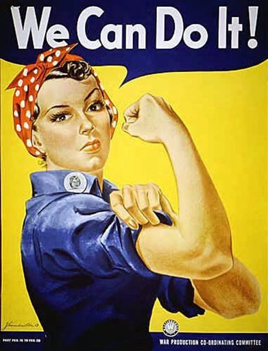 """Rosie the Riveter"" dressed in overalls and bandanna was introduced as a symbol of patriotic womanhood in the 1940's."