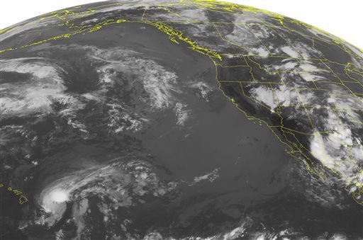 This NOAA satellite image taken Monday, July 29, 2013 at 1:45 a.m. EDT shows a stationary front across eastern Colorado, central Wyoming and into western Montana.