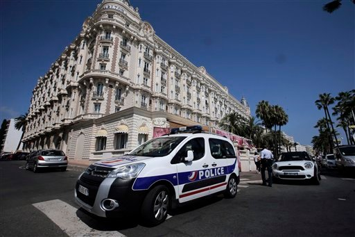 A view of the Carlton hotel, in Cannes, southern France, the scene of a daylight raid, Sunday, July 28, 2013.
