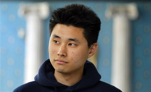 This May 1 ,2012, file photo shows Daniel Chong at a news conference where he discussed his detention by the DEA in San Diego.