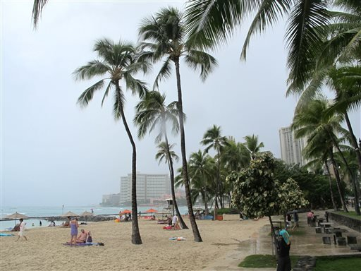 Few people visited Waikiki beach in Honolulu on Monday, July 29, 2013 as Tropical Storm Flossie approached Hawaii. (AP)