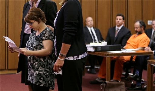 Michelle Knight speaks during the sentencing phase for Ariel Castro Thursday, Aug. 1, 2013, in Cleveland. (AP)