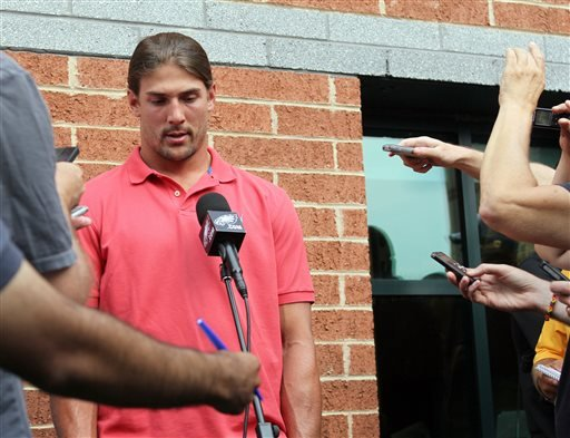 Philadelphia Eagles wide receiver Riley Cooper meets with the media at NFL football training camp on Wednesday, July 31, 2013, in Philadelphia. (AP)
