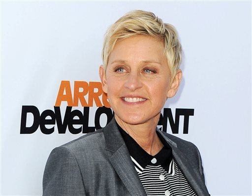 "In this April 29, 2013 file photo, TV host Ellen DeGeneres arrives at the season 4 premiere of ""Arrested Development"" in Los Angeles."