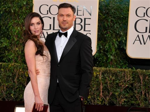 In this Jan. 13, 2013 file photo, actress Megan Fox and actor Brian Austin Green arrive at the 70th Annual Golden Globe Awards at the Beverly Hilton Hotel in Beverly Hills, Calif.