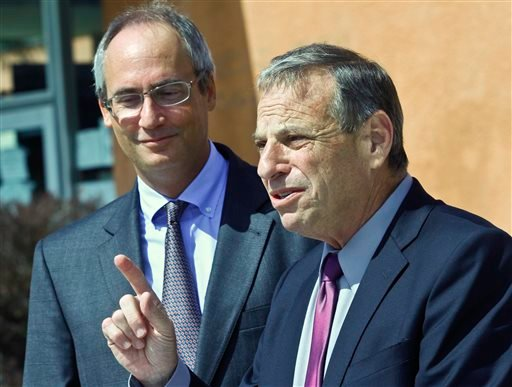 In this Oct. 10, 2012 file photo, San Diego Mayoral candidate Bob Filner, right, thanks San Diego School Board Vice President Scott Barnett, left, for his endorsement in San Diego.