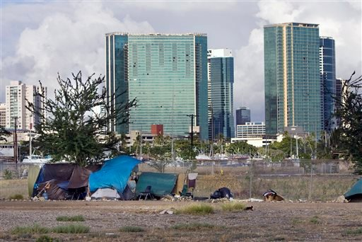 In this Monday, July 12, 2010 file photo, the Honolulu skyline rises behind a homeless camp in an empty lot near Kaakako Park, in Honolulu.