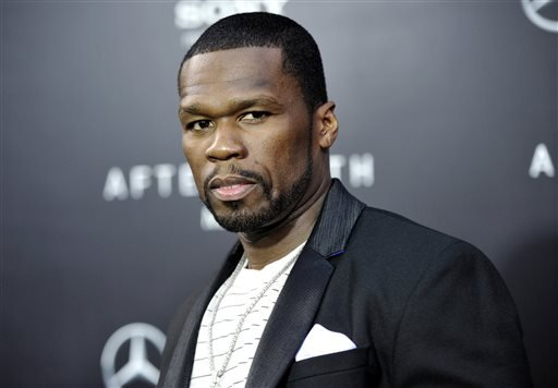 "This May 29, 2013, file photo, shows rapper Curtis ""50 Cent"" Jackson at the Ziegfeld Theatre in New York."